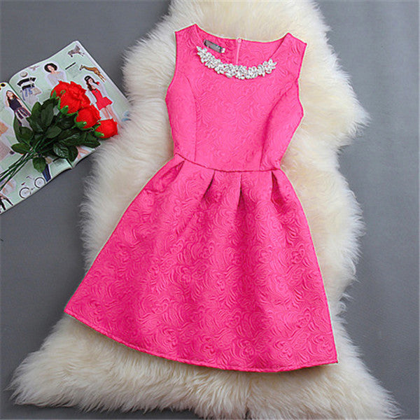 Size S-2XL Spring Summer Autumn Women O-neck Sleeveless Color Appliques Ball Gown Base Dresses