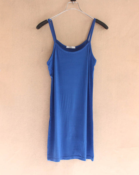 Candy Color Casual Cotton Camisole Modal Strap Long Tank Tops Spaghetti Strap Basic Slip Mini Dress