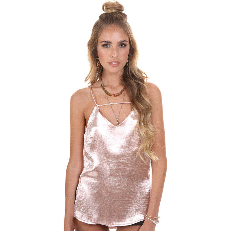 Sexy V Neck Back Cross Metallic Silk Satin Camis Sleepwear Style Tank Top Summer Party Singlet