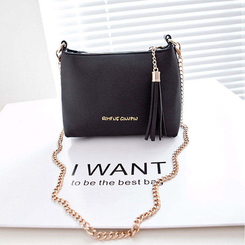 Shell Pu Leather Handbag Chain Shoulder Tassel Crossbody Messenger Bag Candy Color