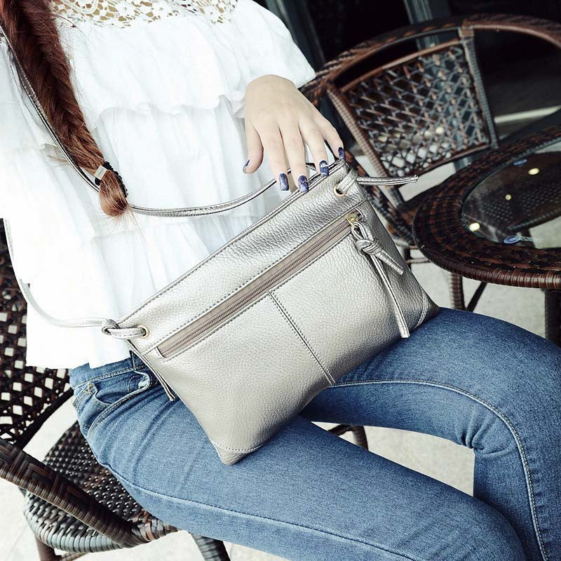 Solid Fashion Small Falp Bags Zipper Bag Female Over The Shoulder Leather Crossbody Bag