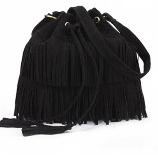 Retro Faux Suede Fringe Women Bag Messenger Bags Handbag Tassel Shoulder Handbags Crossbody