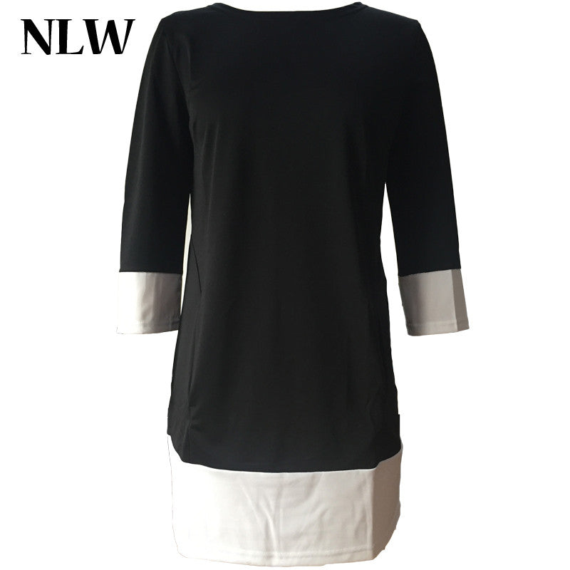 Winter Fashion O-neck Dress Plus Size 3/4 Sleeve with Double Pocket Casual Women Dresses