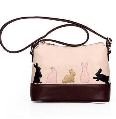 Dual Use Women Detachable Belt Handbags Cute Cat Rabbit Pu Leather Shoulder Bag Messenger Crossbody