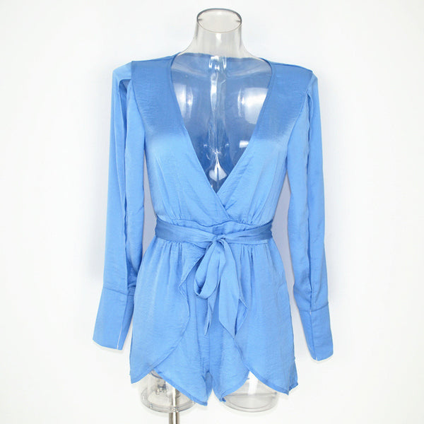 Sexy V Plunging Neckline Split Sleeve Playsuit Romper Jumpsuit Casual Spliced Layered Shorts