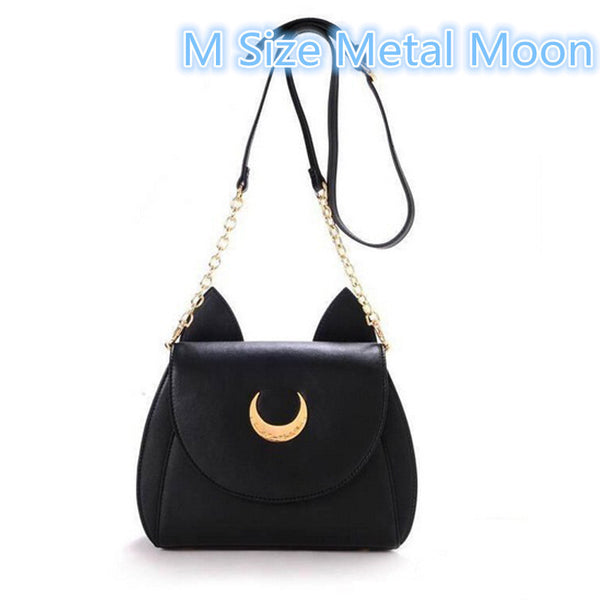 White Black Sailor Moon Luna Artemis Shoulder Luna Cat Leather Messenger Crossbody Chain Small Bag