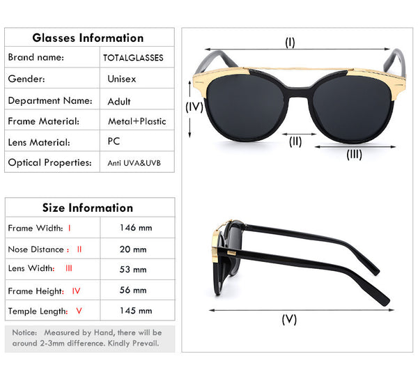 Women Brand Designer Men Vintage Retro Twin Beam Round Shades Sunglasses Top Quality UV400