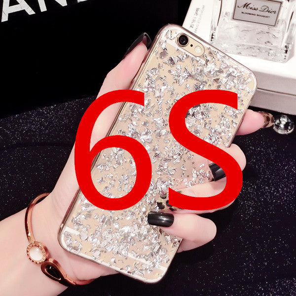 Gold Foil Bling Paillette Sequin Skin Clear Soft Silicone Cover Case For iPhone 7 7 Plus Ultra Slim