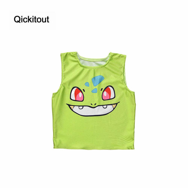 Pokemon Pattern Crop Top Women Camis Pikachu Charmander Squirtle Print Tank Tops Colorful