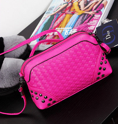 Ladies Messenger Bags Woven Rivet Sweet Pink Mini Crossbody Bag For Women Trendy Handbags Party