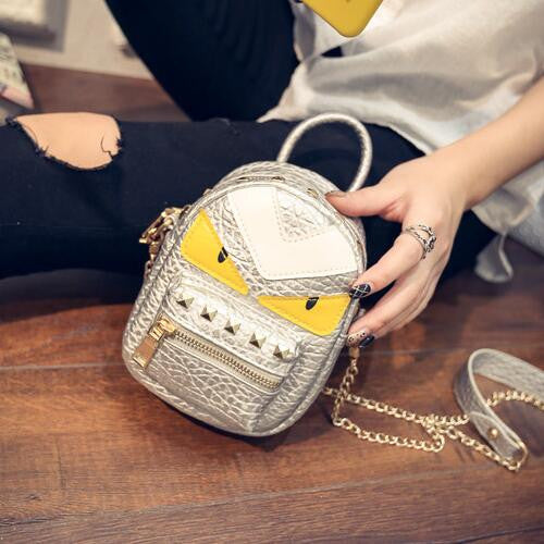Pu Leather Rivet Handbag Girl Ladies Messenger Eyes Monster Mini Crossbody Shoulder Bag