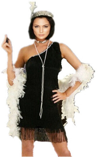 Black Red Silver Flapper Halloween Costumes With Feather Boa Headband Size S-2XL For Women