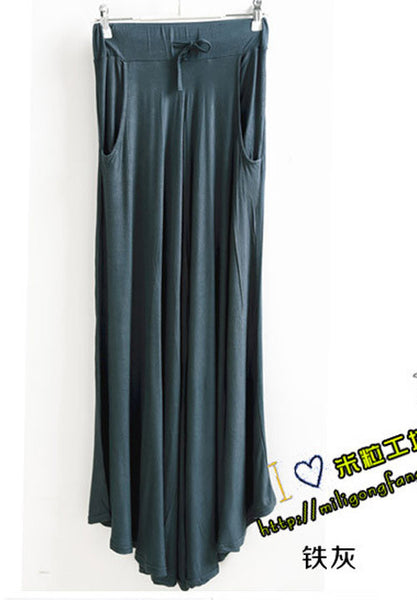 Celebrity Style Women Pocket Long Maxi Skirt Pleated Modal Cotton Casual Ladies Drawstring Skirts