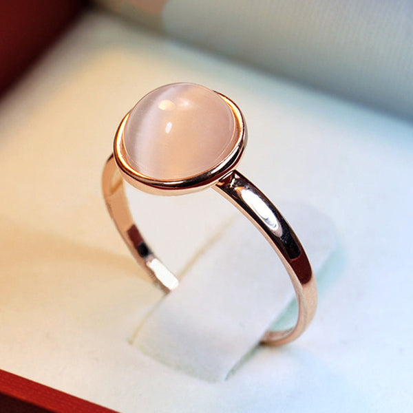 Opal Stone Wedding Rings for Women Jewelry 18K Rose Gold Plated Engagement Ring