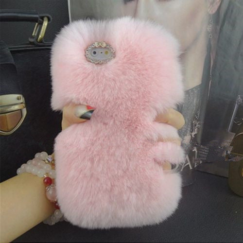 Fashion Luxury Warm Soft Rabbit Fur Skin Case Cover For Apple iPhone 7 7 Plus