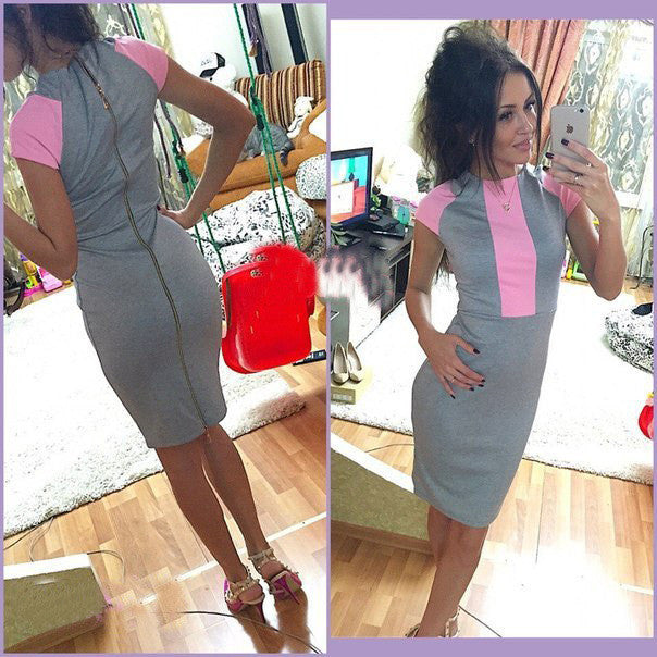 Pink Gray Color Block Tight Fitted Dresses Ladies Sexy Bandage Zipper Back Dress