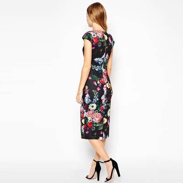 Autumn Beach Dresses Elegant Slim Women's Dresses Pencil Floral Sexy Bodycon Long Party