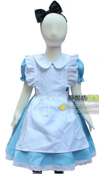 Halloween Children Girls Alice In Wonderland Blue / Pink Cosplay Costume