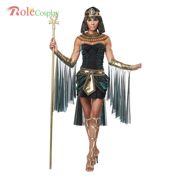 Sleeveless Arab Queen Of Egypt Cleopatra Black Halloween Costumes For Women