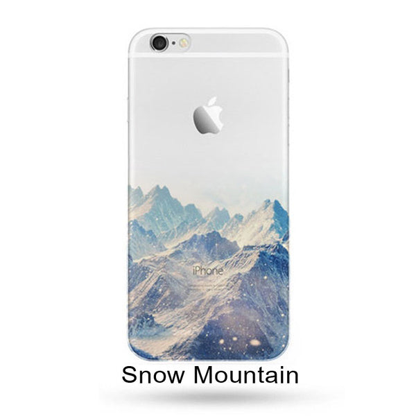 Ultra Thin Soft Silicon Mountain Landscape For iPhone 7 7 Plus Case Phone Cover Case