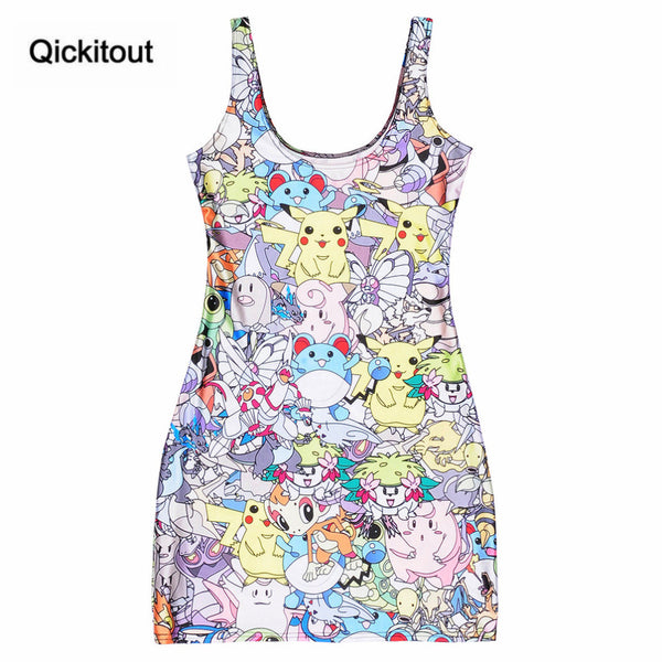 Lovely Pokemon Digital Printing Dress Sleeveless Beach Dress