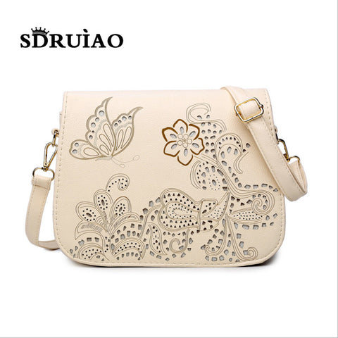 Hollow Pattern Mochila Crossbody Bag Quality Leather Travel Shoulder Bag
