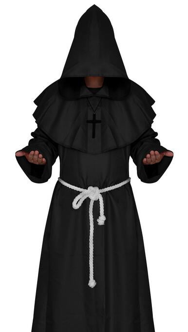 Monk Hooded Robes Cloak Cape Friar Medieval Renaissance Priest Cosplay Halloween Costumes For Women