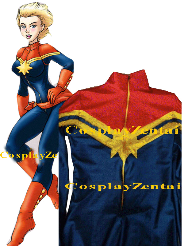 Custom Made Captain Marvel Cosplay Halloween Costumes For Women Spandex Bodysuit