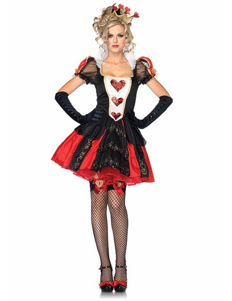 3 Pcs Poker Red Queen Of Hearts Halloween Costumes Womens Carnival Party
