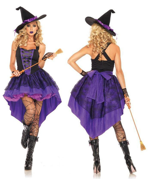 Witch Halloween Costumes For Women Long Purple Swallowtail