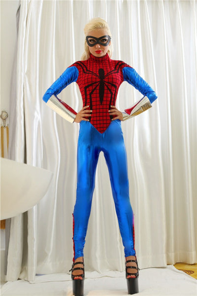 Blue With Red Spider Sexy Halloween Costumes For Women