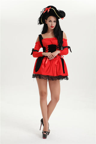 Caribbean Pirate Swashbuckler Red Women Bucaneer Costumes Halloween Plus Size S-3XL With Hat