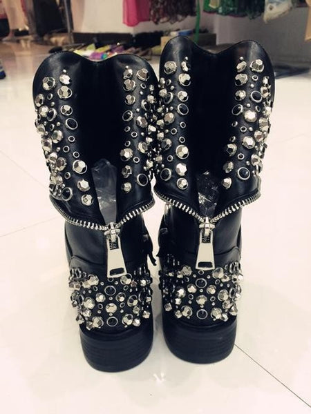 High Quality Pu + Genuine Leather Rivets Square Heels Autumn Winter Ankle Sexy Fur Snow Boots Women