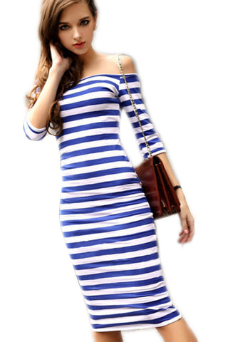Autumn Dress Sexy Half Sleeve Off Shoulder Stripe Stretch Casual Party Bodycon Cotton Blend S-XL