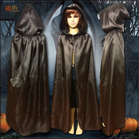 Children Gothic Hooded Stain Cloak Wicca Robe Witch Halloween Costume