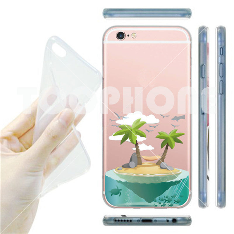Fresh Beach Green Pineapple Cactus Coconut Tree Pattern Phone Case For iPhone 7 7 Plus Transparent