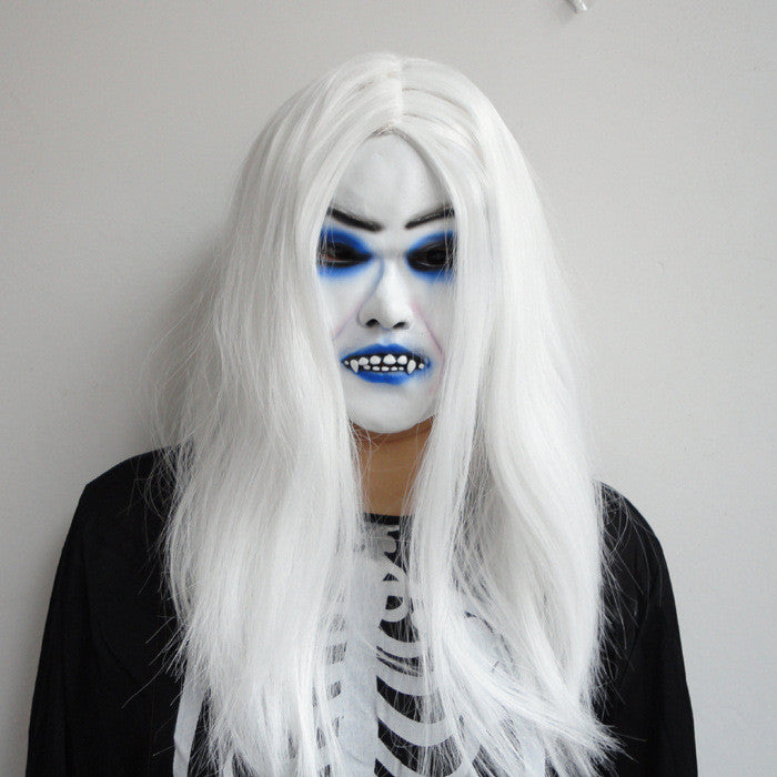 Toothy White Long Hair Ghost Face Halloween Mask