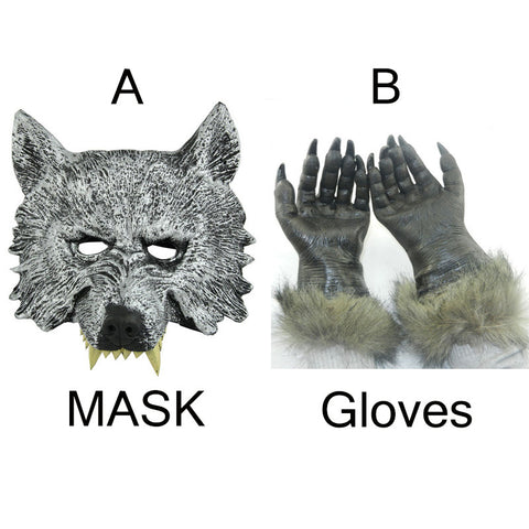 Halloween Full Face Wolf Mask and 1 Wolf Paw Gloves Free Size