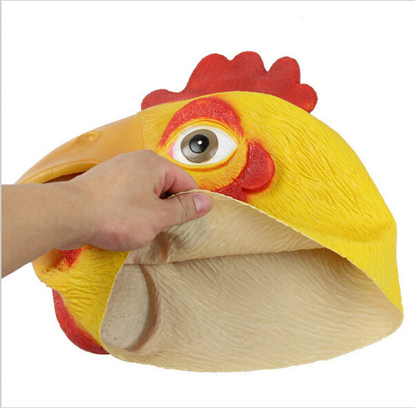 Animal Chicken Mask Head Face Mask Halloween Prop Carnival Latex Party Rooster Mask