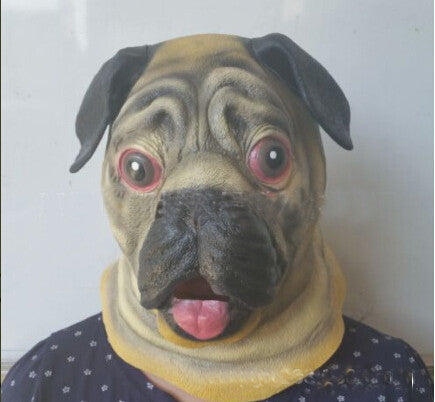 Halloween Shar Pei Dog Latex Mask Adult Costume Prop Mask Mance Hot Happy Dog Mask Head Mask