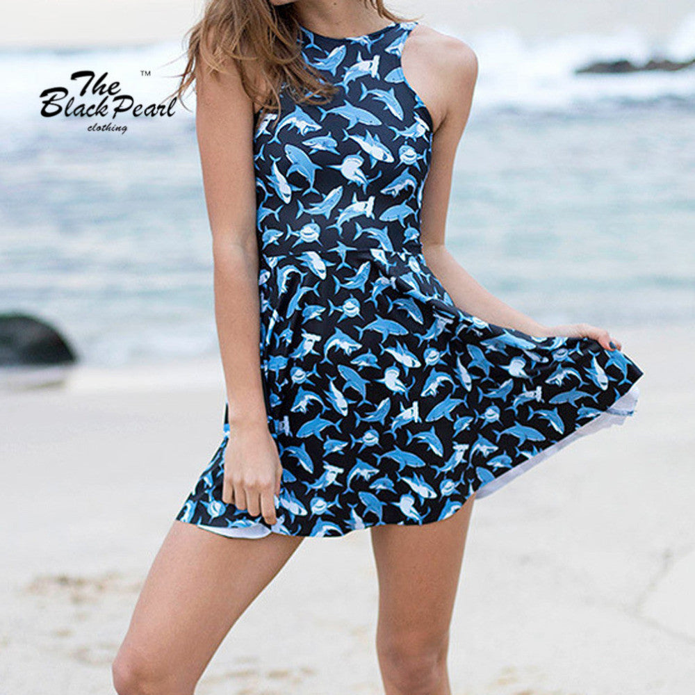 Digital Print Submarine Shark Jump Dress Summer Sleeveless Beach Dress