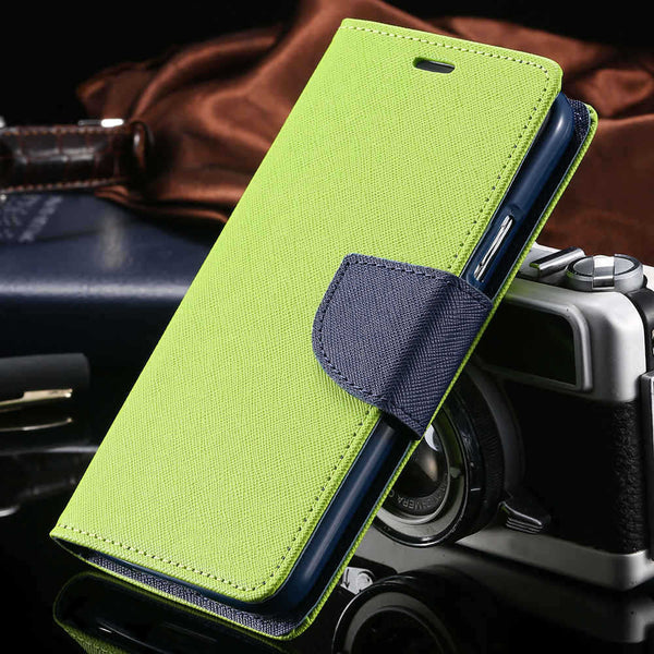 Dual Color Flip Leather Phone Bag Case For iPhone 7 7 Plus Card Slots + Stand Holster Cover