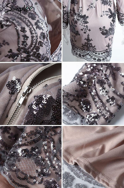 Deep V Neck Sequin Women Shirt Short Mesh Bodycon Dress Embroidery Party Winter Dress