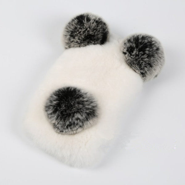 Real Rabbit Fur Phone Cases For iPhone 7 7 Plus Panda Bear Ear