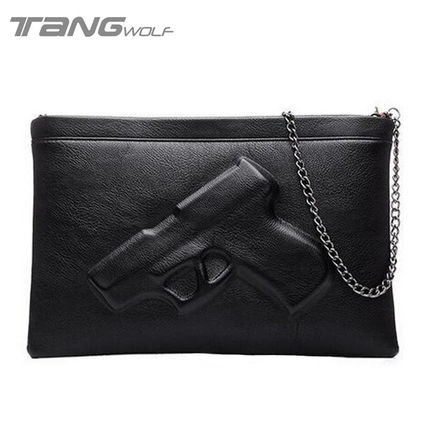 Shoulder Crossbody Bag 3D Gun Handbags Clutch Pu Leather Pistol Bags Chain Ladies Messenger Bag