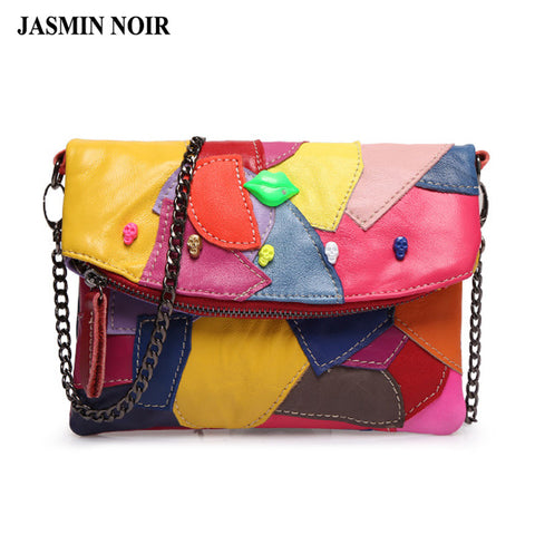 Genuine Leather Clutch Bag Chain Stitching Panelled Patchwork Ladies Lip Skull Crossbody Bag