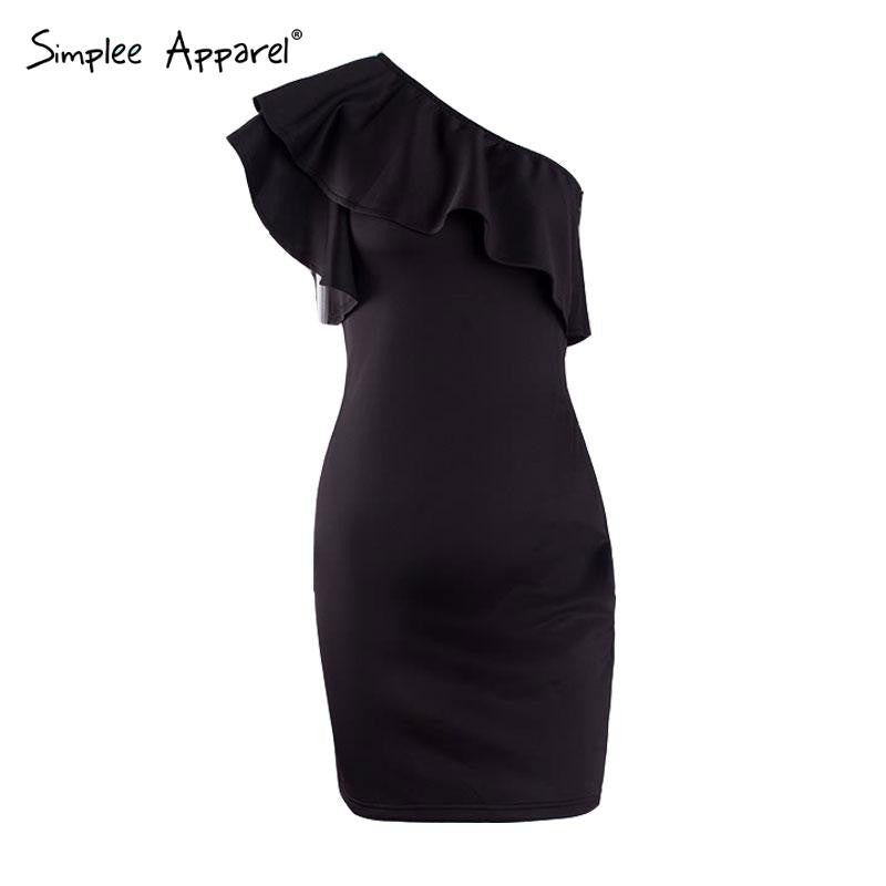Autumn Ruffles Black Women Short Dress One Shoulder White Bodycon Dress Sleeveless Party Winter