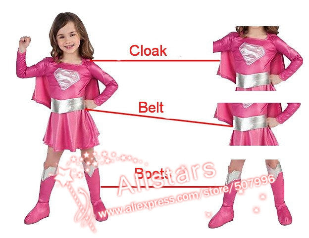Children Superman Girl Halloween Cosplay Costume Set