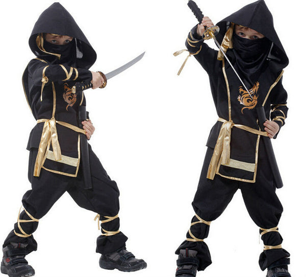 Children Black Ninja Warrior Halloween Costume