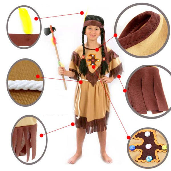 Children Boy Girl Native American Indian Cosplay Halloween Costume